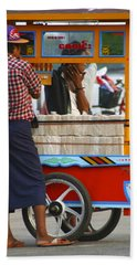 Street Seller At The Foreshore Of The Yangon River Yangon Myanmar Beach Towel