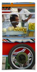 Street Seller Offering Fresh Fruit Yangon Myanmar Beach Towel