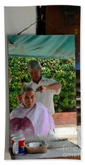 Street Side Barber Cuts Client Hair Singapore Beach Towel