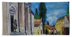 Street View In Rovinj Beach Towel