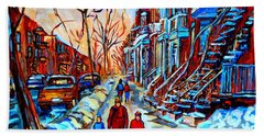 Streets Of Montreal Beach Sheet by Carole Spandau