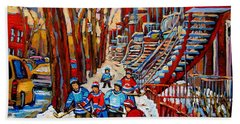 Streets Of Verdun Hockey Art Montreal Street Scene With Outdoor Winding Staircases Beach Towel