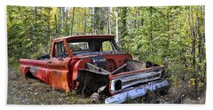 Beach Towel featuring the photograph Stripped Chevy by Cathy Mahnke