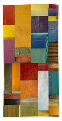 Beach Towel featuring the painting Strips And Pieces Ll by Michelle Calkins