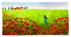 Strolling Among The Red Poppies Beach Sheet