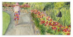 Beach Towel featuring the painting Strolling Butchart Gardens by Vicki  Housel