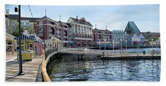 Strolling On The Boardwalk At Disney World Beach Towel by Thomas Woolworth