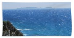 Beach Towel featuring the photograph Strong Mistral by George Katechis