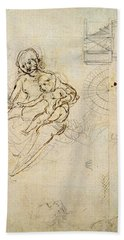 Studies For A Virgin And Child And Of Heads In Profile And Machines, C.1478-80 Pencil And Ink Beach Towel