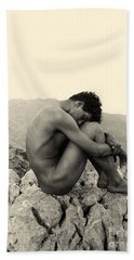 Study Of A Male Nude On A Rock In Taormina Sicily Beach Towel