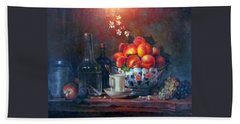 Beach Towel featuring the painting Study Of Peaches by Donna Tucker