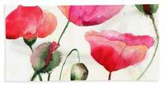 Stylized Poppy Flowers Illustration  Beach Towel