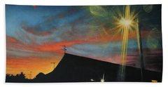 Suburban Sunset Oil On Canvas Beach Towel