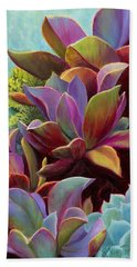 Beach Towel featuring the painting Succulent Jewels by Sandi Whetzel