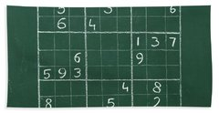Sudoku On A Chalkboard Beach Sheet