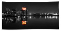 Sugar Glow - Classic Iconic Domino Sugars Neon Sign, Inner Harbor Baltimore, Maryland - Color Splash Beach Towel