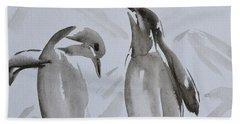 Sumi-e Penguin Dance Beach Sheet