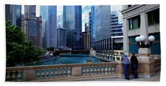 Summer Breeze On The Chicago River - Color Beach Towel