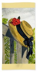 Beach Towel featuring the painting Summer Hat by Angela Davies