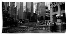 Summer On The Chicago River - Black And White Beach Sheet