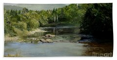 Summer On The River In Vermont Beach Sheet by Laurie Rohner