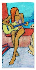 Beach Towel featuring the painting Summer Serenade I by Xueling Zou