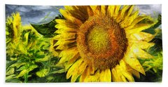 Sunflower Drawing  Beach Towel