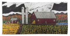 Beach Towel featuring the painting Sun Flower Farm by Jeffrey Koss