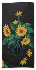 Beach Sheet featuring the painting Sun Flowers  by Sharon Duguay