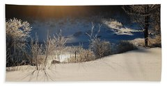 Beach Towel featuring the photograph Sun On Snow by Mim White