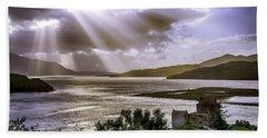 Sun Rays Over Eilean Donan Castle Beach Sheet
