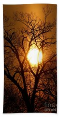 Sun Rise Sun Pillar Silhouette Beach Sheet by Kenny Glotfelty