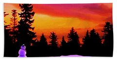 Sun Setting On Snow Beach Towel