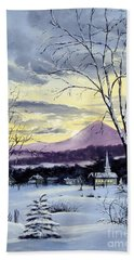 Beach Towel featuring the painting Sunday In Winter by Lee Piper