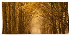 Sunday Morning Walk With The Dog In A Foggy Forest In Autumn Beach Towel by IPics Photography