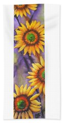 Beach Sheet featuring the painting Sunflower Abstract  by Chrisann Ellis