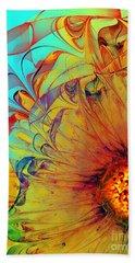 Sunflower Abstract Beach Towel by Klara Acel