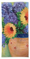Beach Towel featuring the painting Sunflower by Amelie Simmons