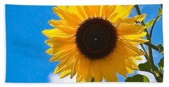 Sunflower And Bee At Work Beach Sheet