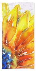 Sunflower Blue Orange And Yellow Beach Towel