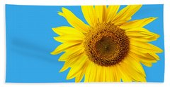 Sunflower Blue Sky Beach Sheet by Edward Fielding