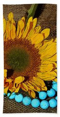 Sunflower Burlap And Turquoise Beach Towel