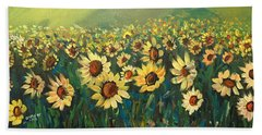 Beach Towel featuring the painting Sunflower Field by Dorothy Maier