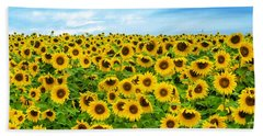 Beach Towel featuring the photograph Sunflower Field by Mike Ste Marie