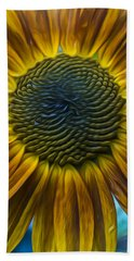 Sunflower In Rain Beach Towel