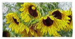 Beach Towel featuring the photograph Sunflower Morn II by Ecinja Art Works