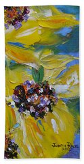 Beach Sheet featuring the painting Sunflower Quartet by Judith Rhue