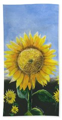 Beach Towel featuring the painting Sunflower Series One by Thomas J Herring