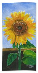 Beach Towel featuring the painting Sunflower Series Two by Thomas J Herring