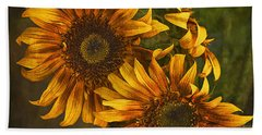 Beach Sheet featuring the photograph Sunflower Trio by Priscilla Burgers